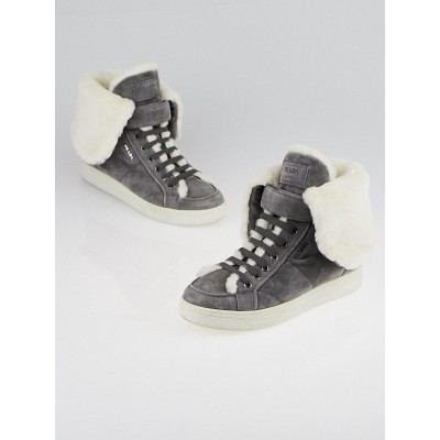 Prada Grey Suede and Faux Shearling High-Top Sneakers Size 7/37.5