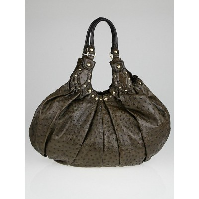 Gucci Brown Ostrich Studded Pelham Large Hobo Bag