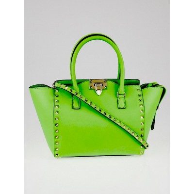 Valentino Green Leather Rockstud Small Double Handle Tote Bag