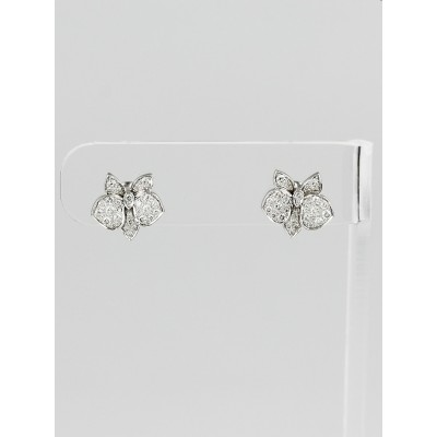 Cartier 18k White Gold and Diamonds Caresse D'Orchidees Par Cartier Stud Earrings