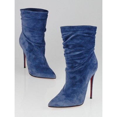 Christian Louboutin Blue Suede Ishtar Booty Ankle Boots Size 6.5/37