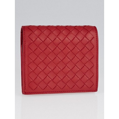 Bottega Veneta Fraise Intrecciato Woven Nappa Leather Small Wallet