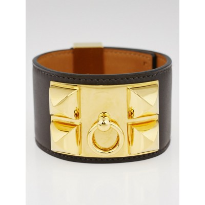Hermes Chocolate Chamonix Leather Gold Plated Collier de Chien Bracelet