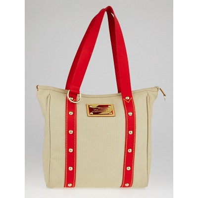 Louis Vuitton Limited Edition Beige/Red Toile Canvas Antigua Cabas MM Bag