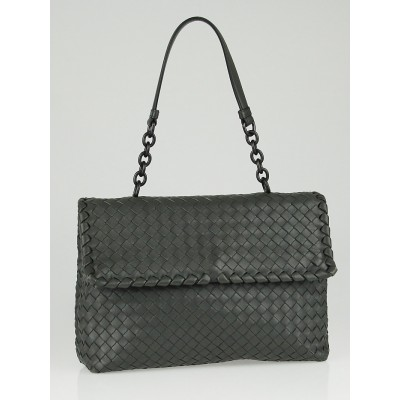 Bottega Veneta Grey Intrecciato Woven Nappa Leather Olimpia Bag