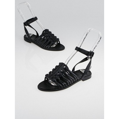 Givenchy Black Textured Leather Gladiator Sandals Size 5.5/36