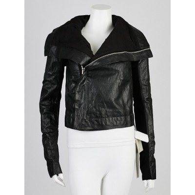 Rick Owens Black Lambskin Leather Biker Jacket Size 6