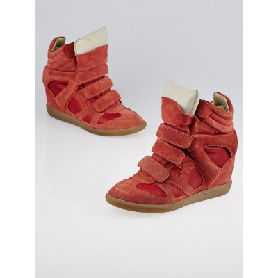 Isabel Marant Red Suede and Leather Burt Sneaker Wedges Size 7.5/38