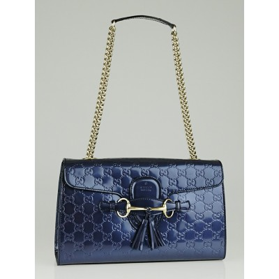 Gucci Metallic Blue Guccissima Patent Leather Emily Original Chain Medium Shoulder Bag