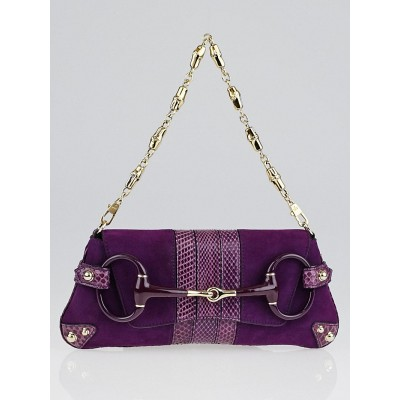 Gucci Purple Suede and Snakeskin Horsebit Clutch Bag