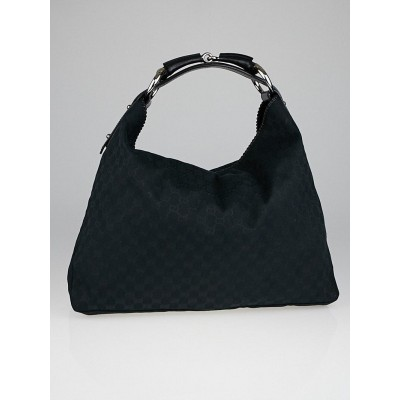 Gucci Black GG Canvas Large Horsebit Hobo Bag