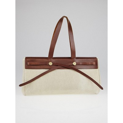 Hermes 40cm Natural Toile and Ebene Vache Calfskin Leather Herbag Cabas MM 2-in-1 Tote Bag