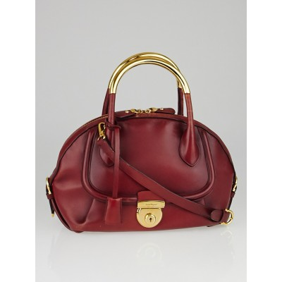 Salvatore Ferragamo Red Leather Fiamma Medium Satchel bag