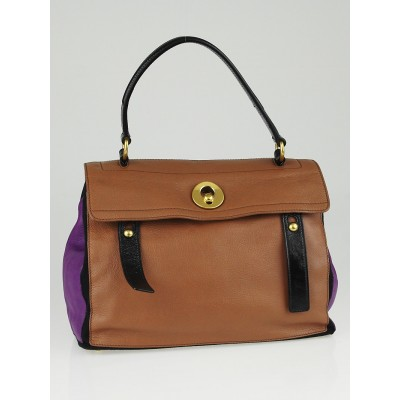 Yves Saint Laurent Purple/Brown/Black Tricolor Leather Medium Muse Two Bag