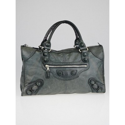 Balenciaga Anthracite Leather Giant Brogues Covered Work Bag