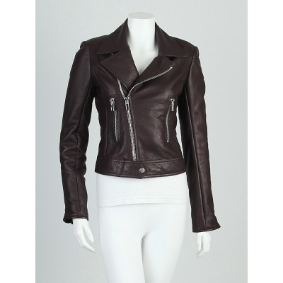 Balenciaga Brown Lambskin Leather New Moto Jacket Size 6/38