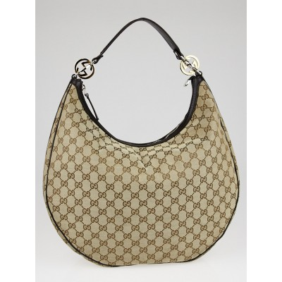 Gucci Beige/Ebony GG Canvas GG Twins Medium Hobo Bag