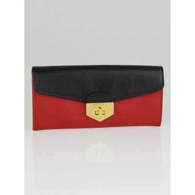 Prada Red and Black Saffiano Leather Wallet 1M1037