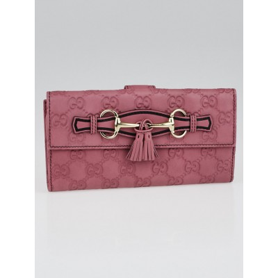 Gucci Mauve Guccissima Leather Emily Long Wallet