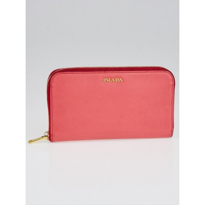 Prada Fragola/Talco Saffiano Trend Leather Zip Wallet 1M0506