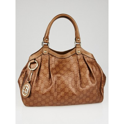 Gucci Bronze Guccissima Leather Medium Sukey Tote Bag