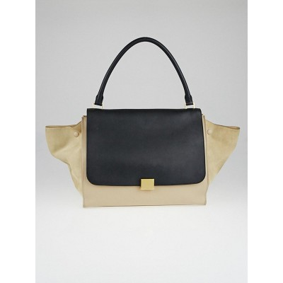 Celine Black/Dune Leather Large Trapeze Bag