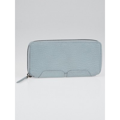 3.1 Phillip Lim Light Blue Shark Embossed Leather Pashli Zip Around Wallet