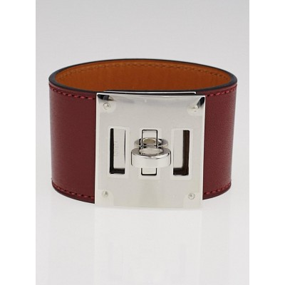 Hermes Bordeaux Swift Leather Palladium Plated Kelly Dog Bracelet