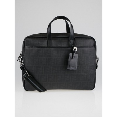 Fendi Black Zucchino Print Spalmati Coated Canvas Business Bag 7VA322