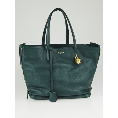 Alexander McQueen Green Grainy Leather Skull Padlock Shopper Tote Bag