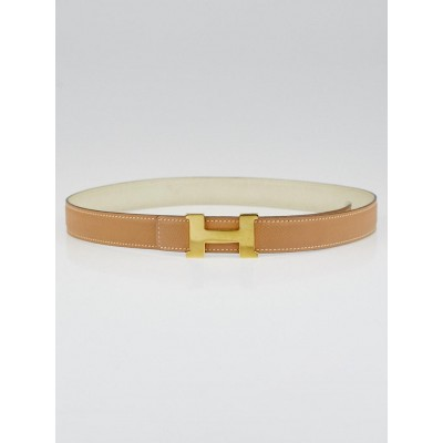 Hermes 24mm Gold / White Courchevel Leather Gold Plated Constance H Belt Size 75