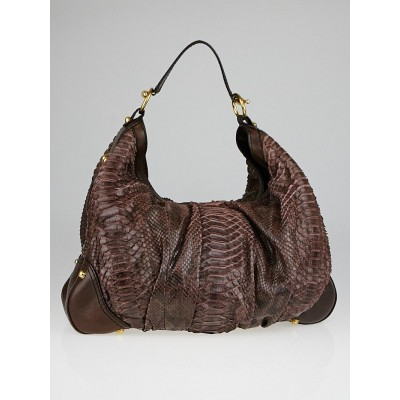 Gucci Brown Python Jockey Large Hobo Bag