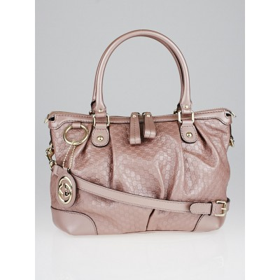 Gucci Pink Metallic Microguccissima Leather Sukey Top Handle Bag