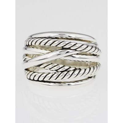 David Yurman Sterling Silver Crossover Wide Ring Size 7.5