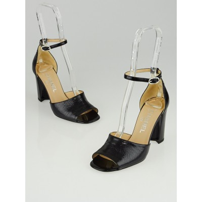 Chanel Black Patent Leather Open Toe Sandals Size 6/36.5
