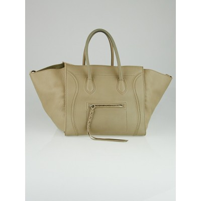 Celine Taupe Pebbled Leather Small Phantom Luggage Tote Bag