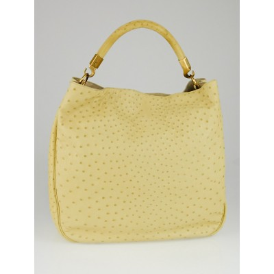 Yves Saint Laurent Pale Yellow Ostrich Roady Bag