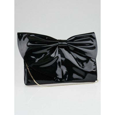 Valentino Black Patent Leather Bow Shoulder Bag