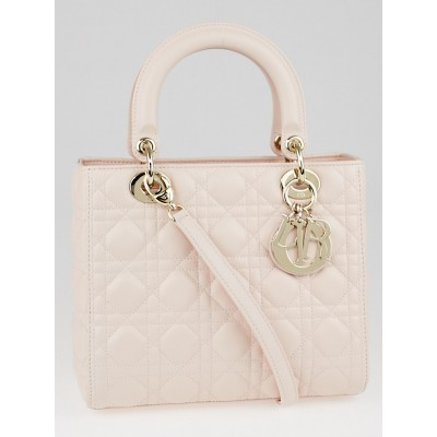 Christian Dior Pale Pink Cannage Quilted Lambskin Leather Medium Lady Dior Bag