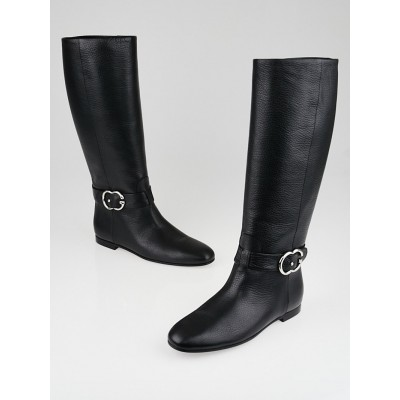 Gucci Black Leather GG Tall Riding Boots Size 6.5/37