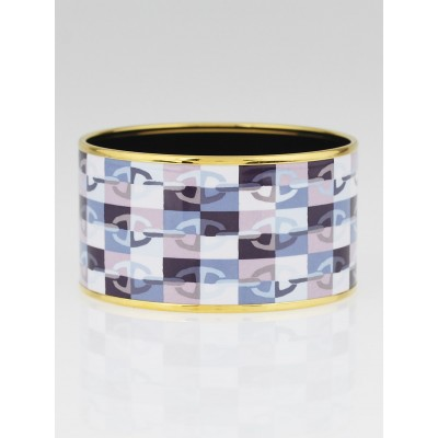 Hermes Blue Optique Chaine d'Ancre Printed Enamel Gold Plated Extra Wide Bracelet Size 65