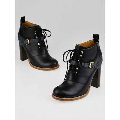 Chloe Black Leather and Lizard Belted Lace-Up Ankle Boots Size 9/39.5