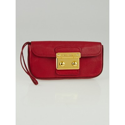 Miu Miu Red Madras Goatskin Leather Clutch Bag