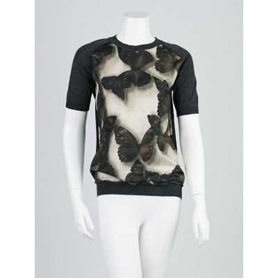Lanvin Grey Wool/Silk Butterfly Short Sleeve Top Size M