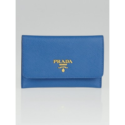 Prada Cobalt Saffiano Metal Card Holder 1M1362