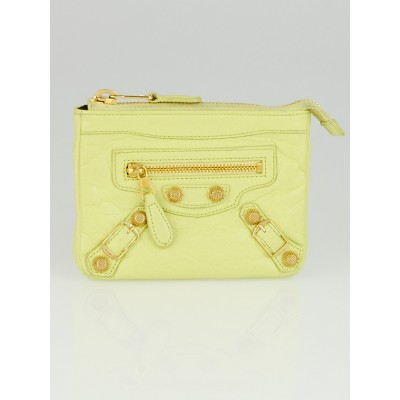 Balenciaga Jaune Citronnade Lambskin Leather Giant Porte Monnaie M Zip Coin Purse