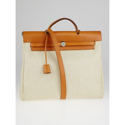 Hermes 40cm Natural Toile Canvas and Vache Calfskin Leather 2-in-1 Herbag GM Bag