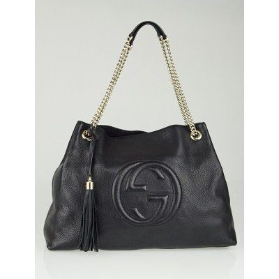 Gucci Black Pebbled Leather Large Soho Chain Tote Bag