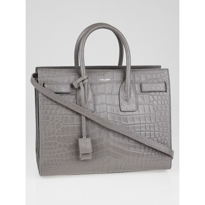 Yves Saint Laurent Grey Crocodile Embossed Calfskin Leather Small Sac de Jour Bag