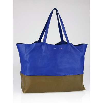 Celine Royal Blue/Khaki Leather Horizontal Cabas Tote Bag